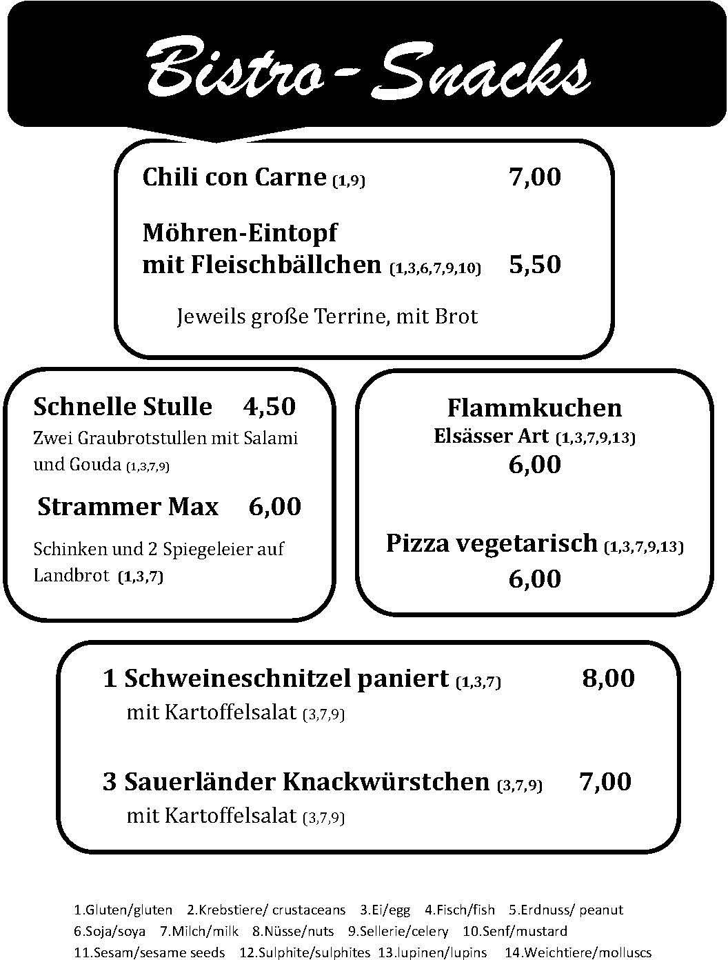 Bistro - Snack-Karte